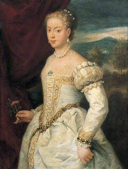 Lady in White Satin Holding a Rose by Titian(after) Canterbury City Council Museums and Galleries      Oil on canvas, 54 x 40 cm     Collection: Canterbury City Council Museums and Galleries
