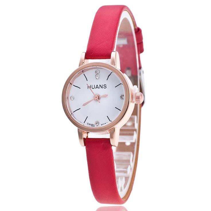 Lovesky 2016 Female Models Fashion Thin Belt Rhinestone Belt Watch PU leather casual bracelet watch wristwatch women Watches