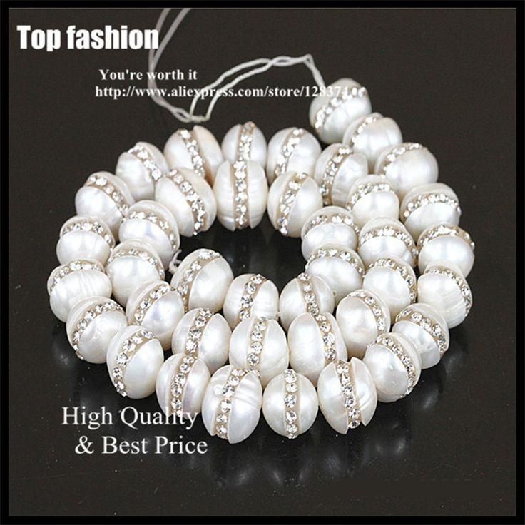 Handmade 1 Strang Natürliche Echt 10mm Elfenbein Weiß Freshwate Perle Pflastern Weißen Kristall Strass Perle Charme Für Diy Schmuck machen