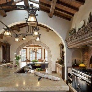 Dies Ist Eine Toskanische Großzügig Dimensionierte Küche Mit Einem Bogen,  Die Trennung Der Bereiche Küche