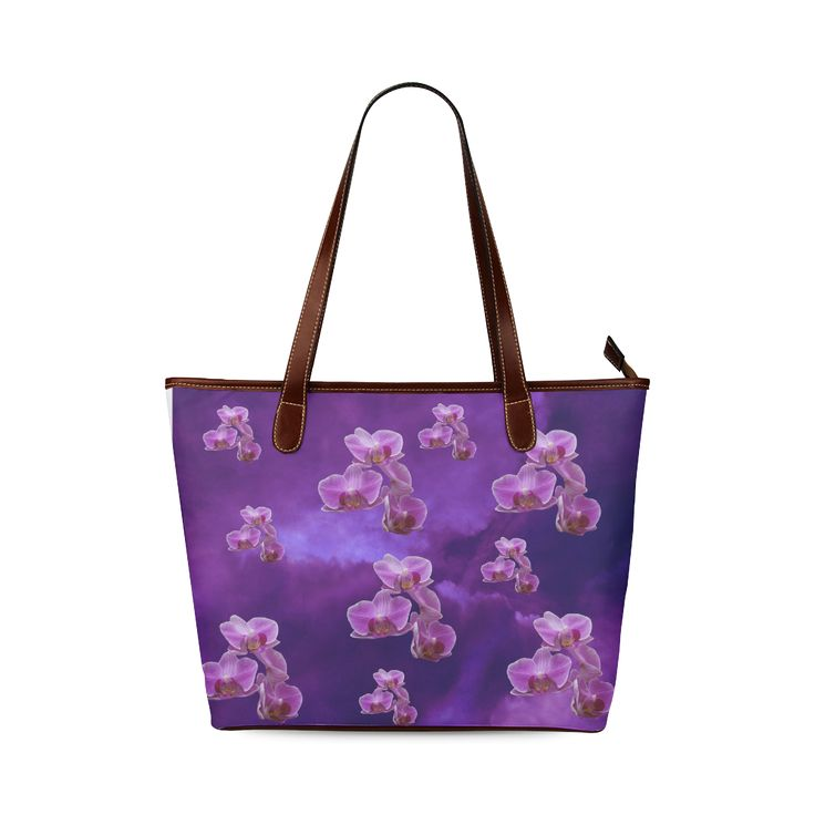 Purple Orchids Shoulder Tote Bag. FREE Shipping. #artsadd #bags #flowers