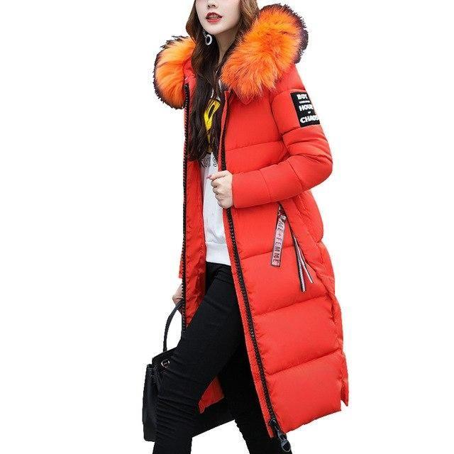 Fashion Women/'s Winter Down Coat Thick Full Long Cotton Parka Hooded Jacket Zip