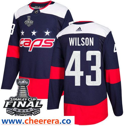 Washington Capitals  43 Tom Wilson Navy Blue Stitched Adidas NHL Men s Stadium  Series Jersey with 2018 Stanley Cup Final Patch 4b5ef6249