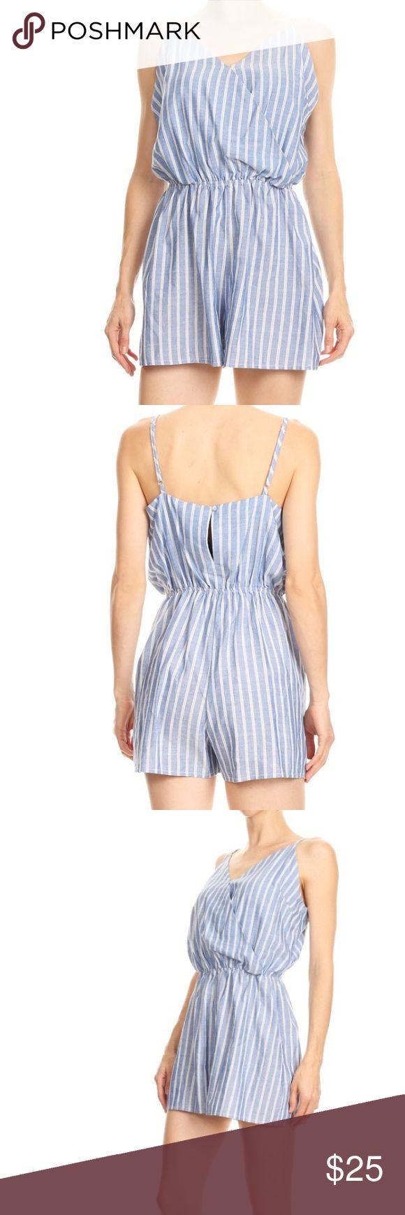 🎉 Just In!! 🎉 🆕 Striped Cotton Romper 💙 Super cute!!! 💙   🆕 Sizes S M & L.  Only one is each size available!  🌸 Jewelry shown for style suggestions only! 🌸  Does not come with clothing and is available to purchase separately.  All clothing items available in my Posh boutique are available with a 10% bundle discount! 💕🛍  Reasonable offers considered. No trades, holds, or Paypal. Thank you 💜 Pants Jumpsuits & Rompers