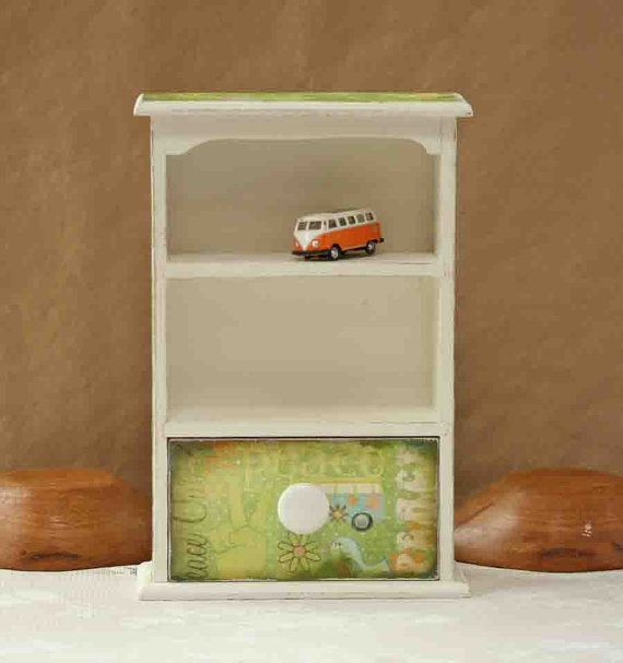 small display cabinet, decoupage, hippie chic, shabby chic, rustic chic, gift for her