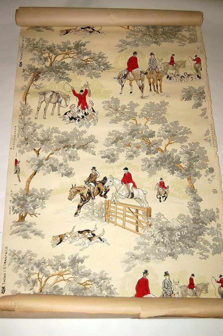 Vintage equestrian wallpaper from honeybeepollen. Let's see..how much would it take to completely cover my home?