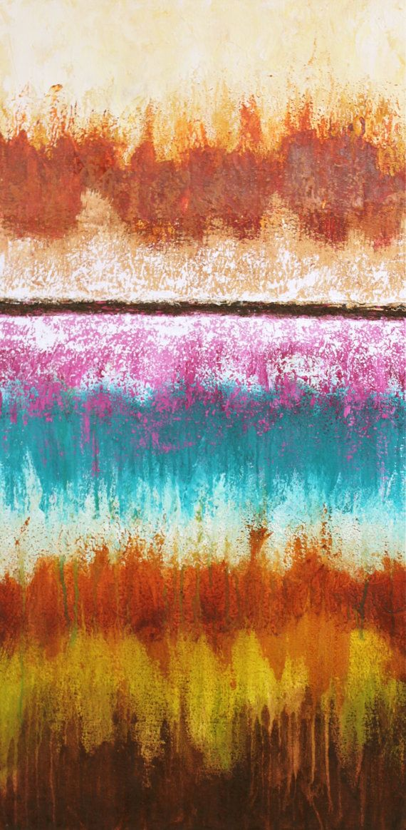 abstract painting colorful stripes yellow orange pink by StudioZen