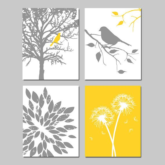 Yellow Gray Nursery Art Quad - Bird in a Tree, Bird on a Branch, Abstract Floral, Dandelions - Set of Four 11x14 Prints - Choose Your Colors