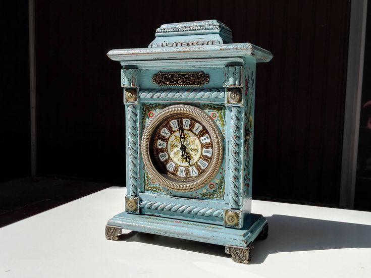 ORIGINAL Large Wooden Clock // Antique Hand Painted Clock, Art Deco Blue Electronic Alarm Clock, Turquoise Desktop Clock, Victorian Clock by IntegratedGoods on Etsy https://www.etsy.com/uk/listing/516578102/original-large-wooden-clock-antique-hand