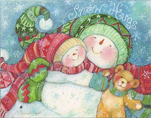 Snow Hugs...Snowman...Merry Christmas