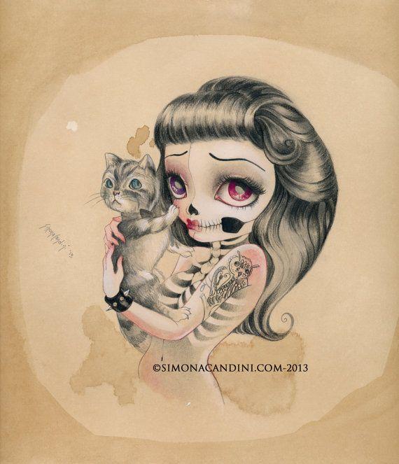 Rester avec moi à tirage limité signé numéroté Simona Candini lowbrow yeux pop surréaliste « OS et poésie » sucre d'art gothique de crâne chat