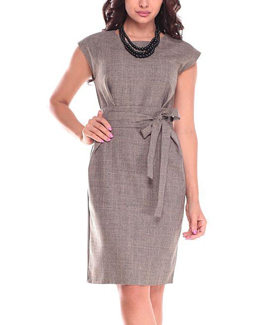 Beige Crosshatch Belted Linen-Blend Cap-Sleeve Dress