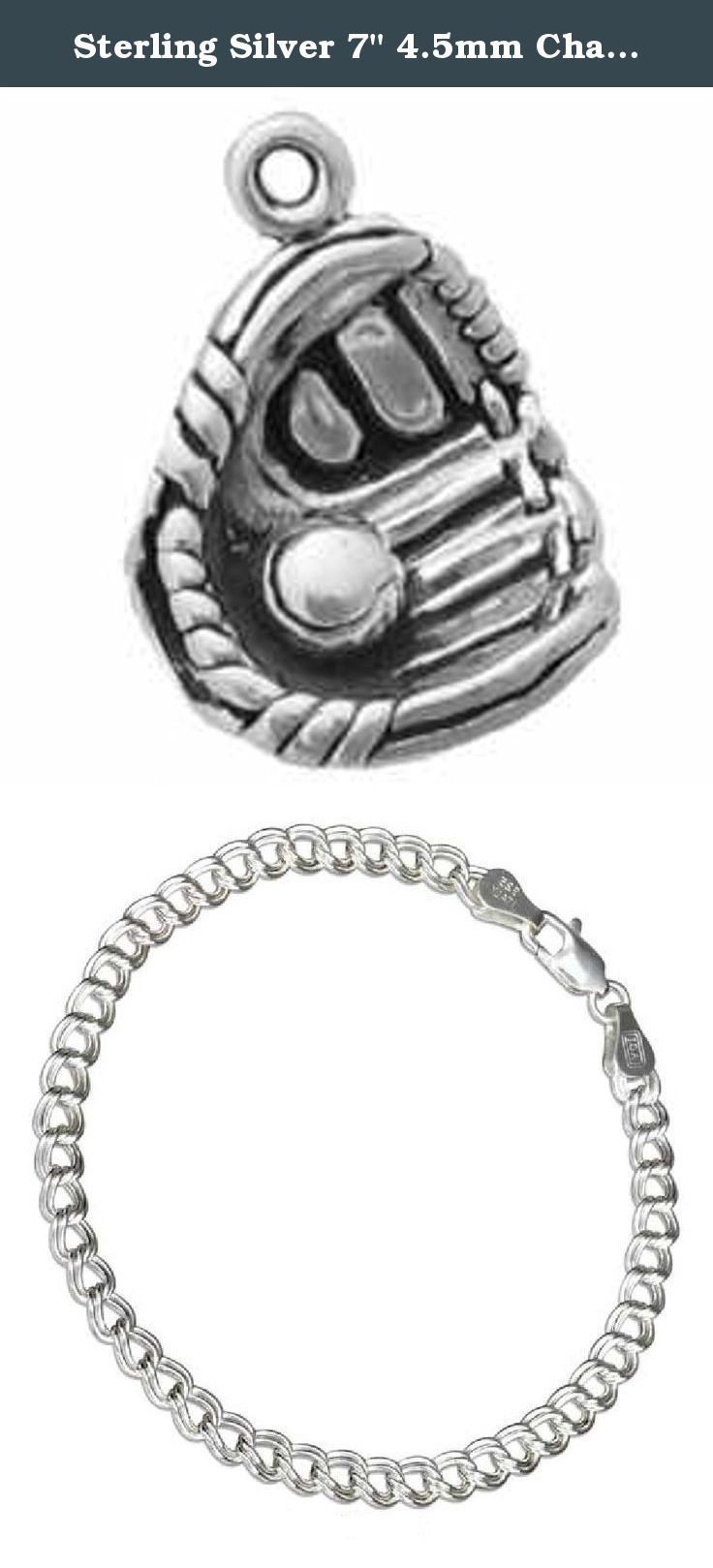 "Sterling Silver 7"" 4.5mm Charm Bracelet With Attached 3D Baseball Glove With Baseball Sports Charm. Sterling Silver 7"" 4.5mm Italian Made Charm Bracelet With Attached 3D Baseball Glove With Baseball Charm. Great Charm For Any Baseball Or Softball Player. Material: .925 Sterling Silver Dimensions: Fully 3D Charm Height: 5/8"" Length: 4/8"" Width (Thickness): 2/8"" Units Sold By: Single SKU#: A37100T-BR452 Charm Made In: United States All Measurements Are Approximate ."
