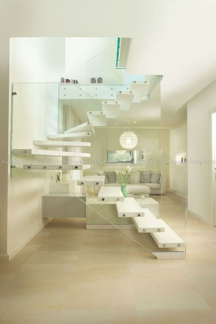 Scala con pareti in vetro strutturale e legno 4 Scale per ...