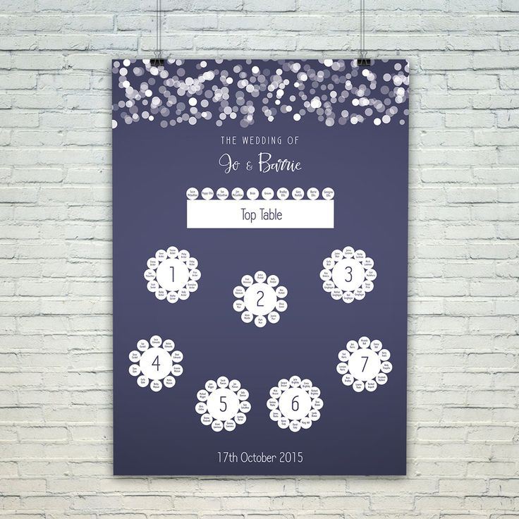 Navy and white wedding table plan, glittering lights mounted printed seating chart by GoodEggUK on Etsy