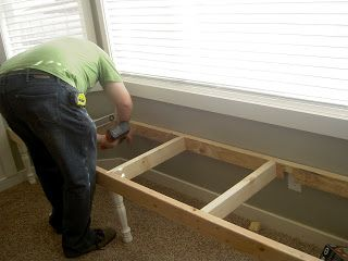 how to build a window seat over baseboard heat | Chapman Place: DIY Bay Window Seat
