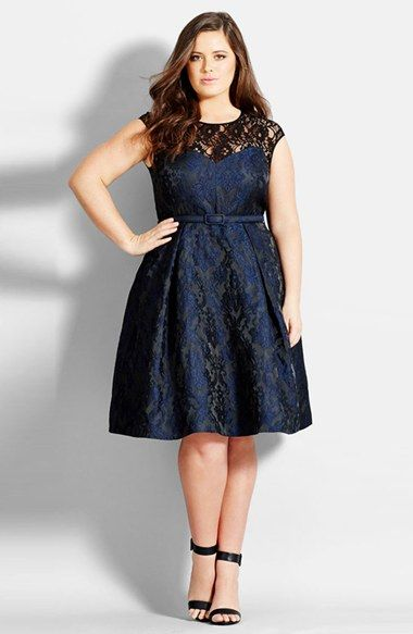 Lace Neck Brocade Dress (Plus Size) at Nordstrom.com. Step out in the opulence of a shimmering, vintage brocade paired with an illusion-lace yoke. The enchanting fit-and-flare dress is accentuated with a waist-slimming belt.