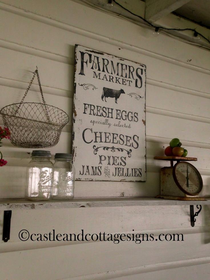 Farmhouse vintage Farmers Market sign handpainted. $58.00, via Etsy.