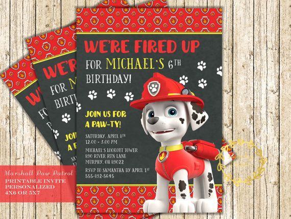 Paw Patrol Invitations with Marshall the Fire Pup birthday party invites - we're fired up!