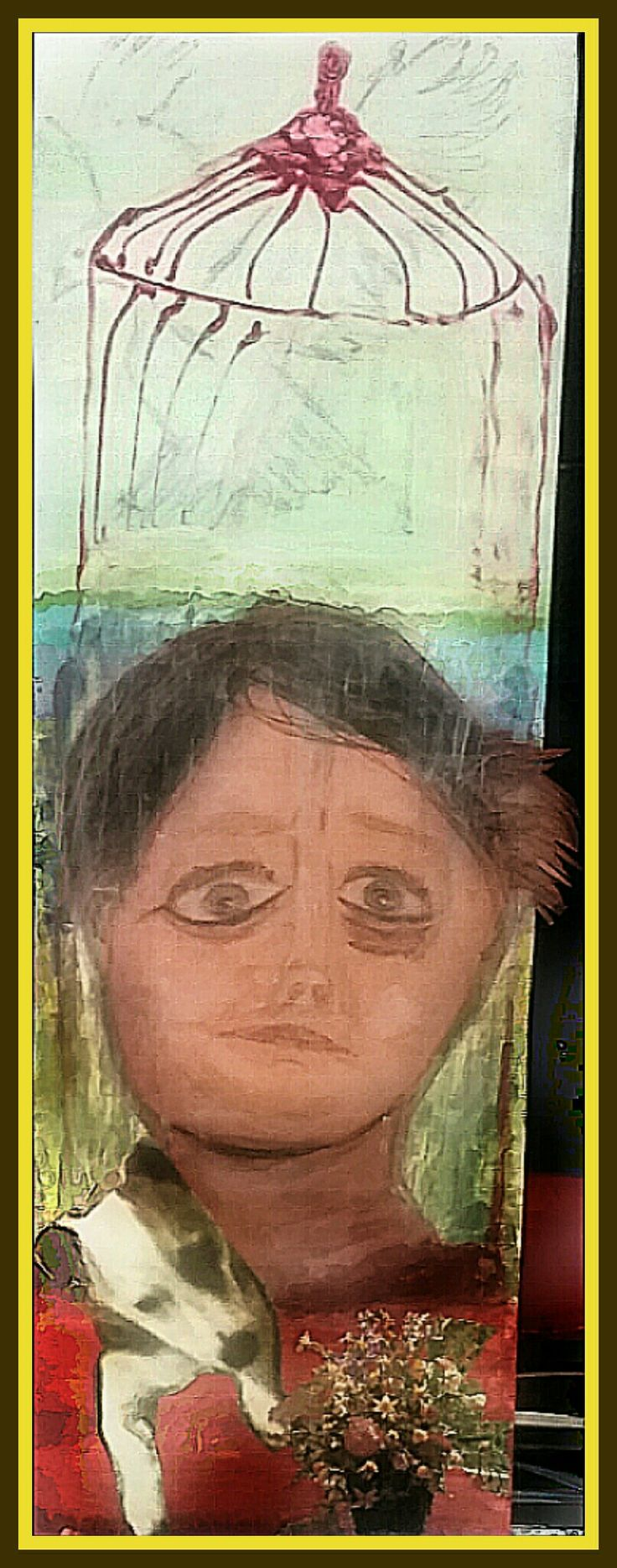 Self portrait. Charcoal, texta, pastel crayons and acrylic paint on brown cardboard and timber sheeting. Surrialist art style. Living with ptsd. Bible saying from the new testament. Don't conform to the things of this world; instead be transformed by the renewing of your mind.