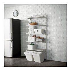 IKEA - ALGOT, Crémaillère/tablettes, Les éléments de la série ALGOT se combinent de nombreuses façons différentes et peuvent ainsi facilement s'adapter à vos besoins et à l'espace dont vous disposez.Comme les consoles, tablettes et accessoires se fixent par un simple clip, il est facile de monter, d'adapter et de modifier votre solution de rangement.Peut être utilisé partout dans la maison, même dans des endroits humides comme une salle de bain ou un balcon vitré.Peut aussi…