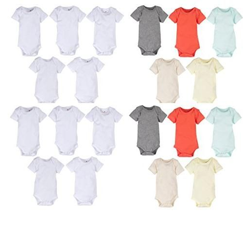 5-Pack Solid White or Neutral Color 100% Cotton MiracleWear Bodysuits by Miracle Blanket (6-9 Month 20-Pack, Color & White)