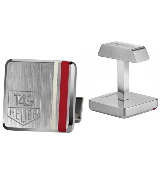 Stunning cuff links with red detailing   $325 available at Tag Heuer #cufflinks #christmas #westfieldsyd