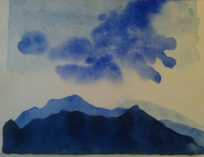 Blue mountains-watercolor