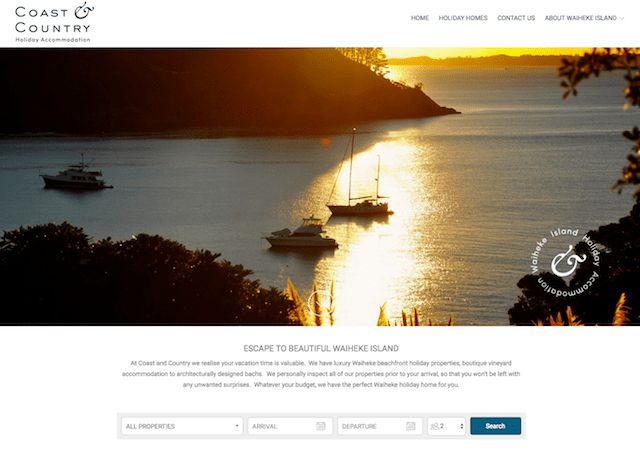 Coast & Country - This Lodgify customer really hit the mark with their simple yet effective branding. The repetition of their abstract logo helps to create a sense of continuity for the visitor.  #vacationrentalwebsites #vacationrentals #webdesign #website