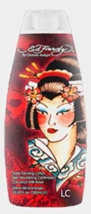 Geisha by Ed Hardy. Save 58 Off!. $14.99. Tan Accelerator. Dark Tanning Lotion with Skin Nourishing. Optimizers in a Coconut Milk Base. TITLE:  GEISHA  BY:  ED HARDY  FRAGRANCE:  OCEAN MIST  PRODUCT DESCRIPTION:  DARK TANNING LOTION WITH SKIN NOURISHING  OPTIMIZERS IN A COCONUT MILK BASE  GEISHA GIVES SKIN A NOURISHED, SOFT FEEL WHILE THE SHEA BUTTER REPAIRS AND PREVENTS STRETCH MARKS. THE MELALEUCA COMPLEX HELPS CLEAR, AND PROTECT THE SKIN FROM HARMFUL FREE RADICALS. GEISHA'S AFTER TAN...