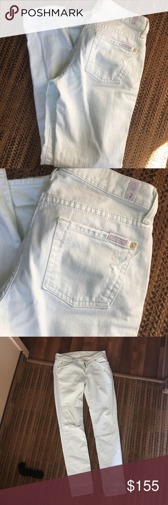 Light Mint green jeans. Great condition, only worn twice. 7 For All Mankind Jeans Skinny