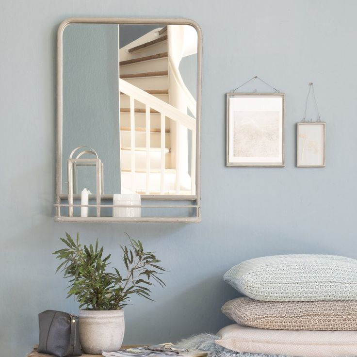 Large Zinc Industrial Mirror with Shelf