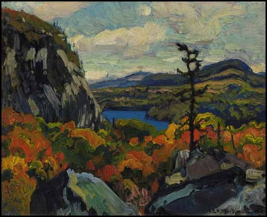 """'Early Autumn, Montreal River, Algoma,"""" James Edward Hervey (J.E.H.) MacDonald, oil on board, 8 1/2 x 10 3/8"""", private collection."""