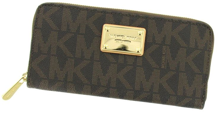 MICHAEL Michael Kors Mk Logo Zip Around Continental,Brown,one size