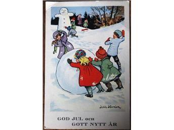 Jenny Nyström - Kerst & Nieuwjaar Card - kind spelen in de sneeuw (klein)