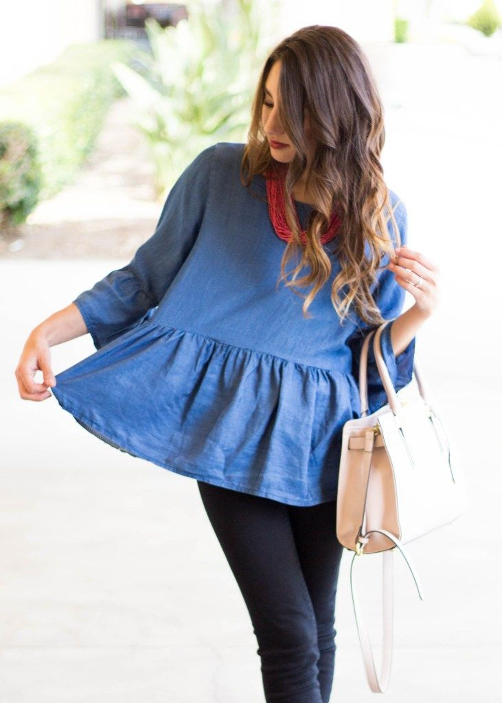 Denim bell sleeve ruffles peplum top with black loft jeans and brown franco sarto leather booties and pink taupe target purse moos musing world market beaded necklace summer spring outfit style inspiration