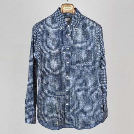 Navy and black wobbly check print button-down cotton shirt