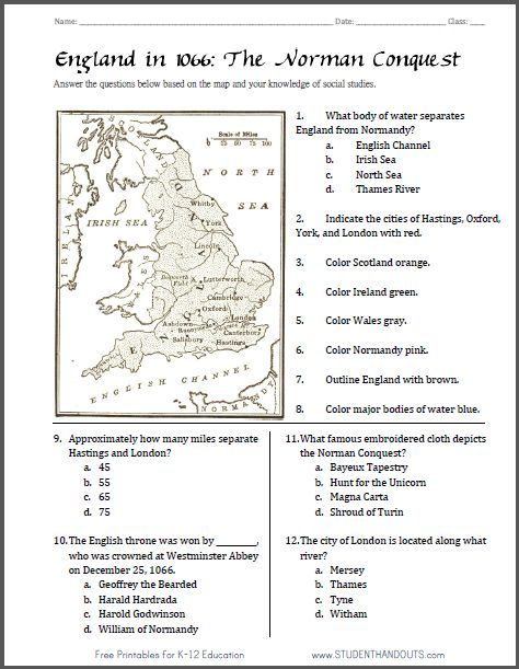 Norman Conquest Map Worksheet | Student Handouts ...