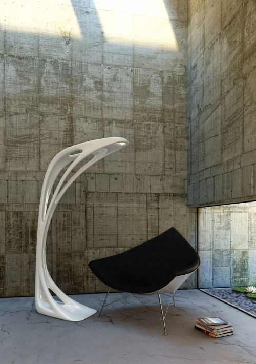 "Zaha Hadid drew it for Artemide in 2009 : #Genesy floor lamp ►http://bit.ly/_Genesy She was inspired by Nature and was even talking about ""fluid design""."