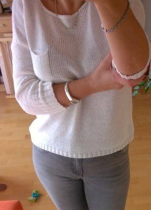 Kup mój przedmiot na #vintedpl http://www.vinted.pl/damska-odziez/swetry-z-dzianiny/16693312-bialy-bawelniany-sweterek-oversize-34-rekaw