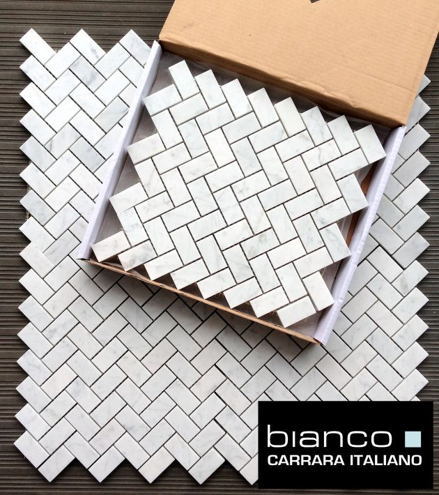 "Carrara Bianco 1x2"" Herringbone Marble Mosaic Tile for $11.75 a square foot.  Available online from The Builder Depot."