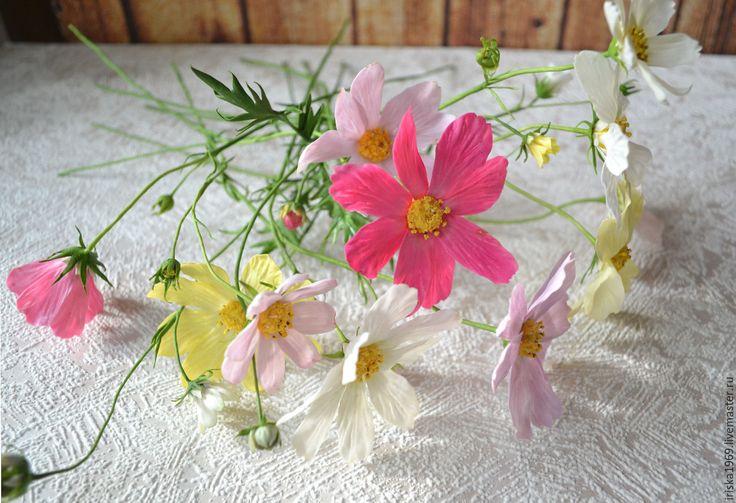 Купить Космеи из холодного фарфора - комбинированный, космея, букет, Холодный фарфор, цветы из полимерной глины