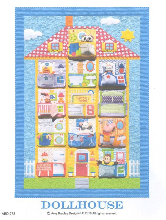 Dollhouse Quilt Pattern by Amy Bradley Designs at TCSFabrics.com 13 block quilt, with a pocket in every block!  Method: Fusible Applique.   #SewingPattern #QuiltPattern #DollhouseQuilt #AmyBradleyDesigns #AmyBradleyPattern #KidsQuilt #QuiltForKids