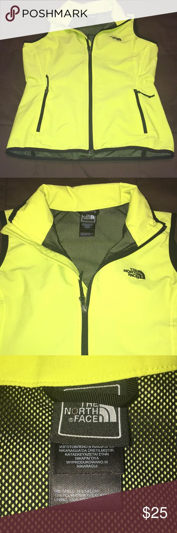 🛍North Face windbreaker vest🛍 North face vest. Thin.  Neon yellow. It's marked a medium but run small. Therefore listed as a size small. . Only worn handful of times. Has  a few flaws in the net stitching on the inside. It's not any holes. Stitching ain't smooth on those few spots. Took a picture of it. You can't see it when wearing. Also light mark in front and back you can hardly see it. Need to look very close to notice. It doesn't show in pictures, it's very light. North Face Jackets…