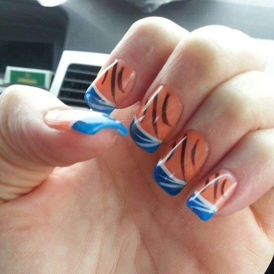 40 best nails thunder images on pinterest thunder nail art another variation of okc thunder nails prinsesfo Image collections