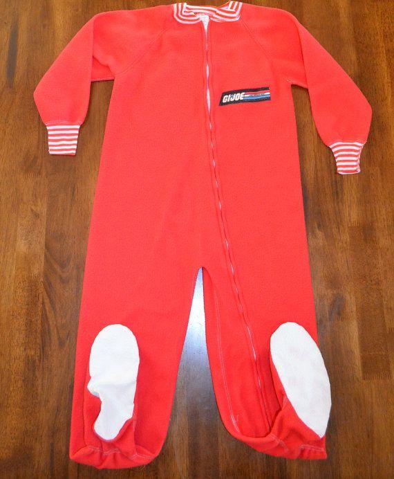 80s vintage footy pajamas GI Joe red footie pj's 80s by skippyhaha