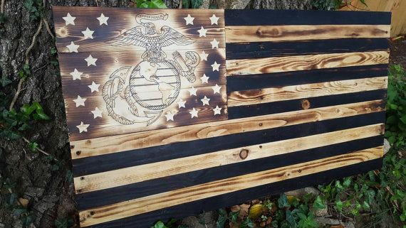 American Flag. Marine Flag. Wood Marine Flag. by ReclaimedPatriot
