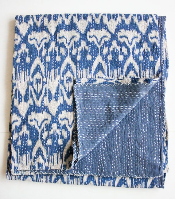 Ikat Quilt in Blue Queen Size by gypsya on Etsy