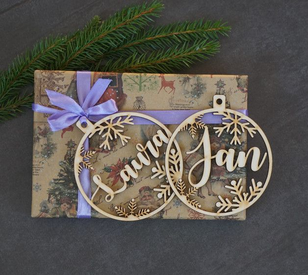 Inspiration für Geschenkverpackungen: Baumschmuck aus Holz, Laserschneiderei, Weihnachtsschmuck / #christmas gift wrap idea: wooden lasercut ornaments made by Irena502 via DaWanda.com