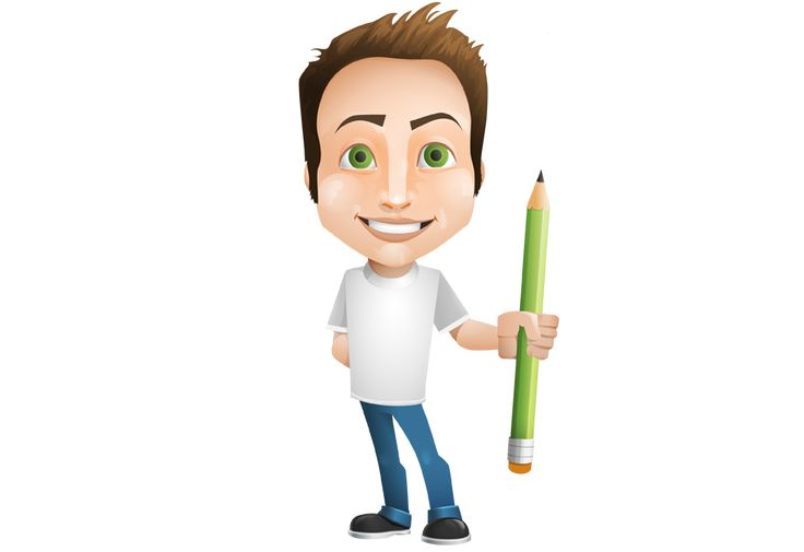Image for Free Man Holding A Pencil Vector Character